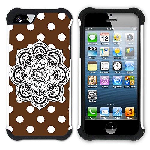 Graphic4You Mandala Blume Punktmuster Tupfen Muster (Wasserblau) Hart + Weiche Kratzfeste Hülle Case Schale Tasche Schutzhülle für Apple iPhone SE / 5 / 5S Braun
