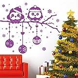 """Wandtattoo Loft """"Weihnachts Eulen auf einem Ast mit Weihnachtskugeln und Schneeflocken"""" - Wandtattoo / 54 Farben / 4 Größen / dunkelblau / 115 cm Höhe x 135 cm Breite"""