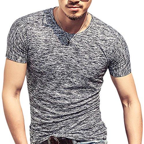 Butterme Summer Crew Neck Modal T-Shirt mit kurzen Ärmeln Classics Basic Shirt fur Männer Herren in Verschiedenen Farben Schwarz