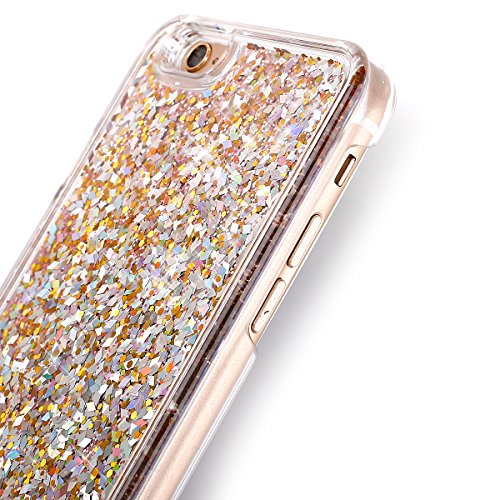 Cover iPhone 6S,Cover iPhone 6, Custodia Cover Case per iPhone 6 / 6S,ikasus® Di lusso Bling Bling scintilla scintillio iPhone 6S / 6 Case Custodia Cover [Cristallo Trasparente] Protettiva Trasparente Diamond:Golden