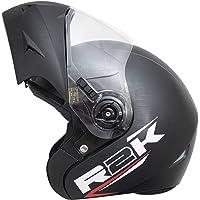 Steelbird R2K OSKA Reflective Flip-up Helmet, ISI Certified Helmet (Large 600 MM, Dashing Black with Clear Visor)