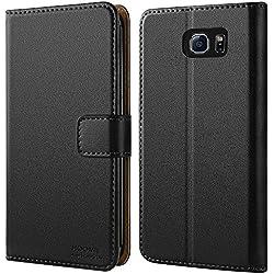 HOOMIL Coque Samsung S6 Edge, Housse en Cuir Premium Flip Case Portefeuille Etui Coque pour Samsung Galaxy S6 Edge (H3025, Noir)