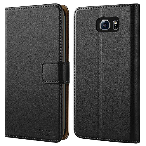 HOOMIL Galaxy S6 Edge Hülle, Handyhülle Premium Leder Tasche Flip Case Schutzhülle für Samsung Galaxy S6 Edge (Schwarz)