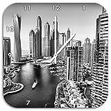 Monocrome, Dubai Metropole, Wanduhr Durchmesser 48cm mit weißen spitzen Zeigern und Ziffernblatt, Dekoartikel, Designuhr, Aluverbund sehr schön für Wohnzimmer, Kinderzimmer, Arbeitszimmer