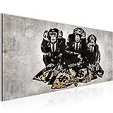 Bilder Banksy Street Art Affen Geldsäcke Wandbild Vlies - Leinwand Bild XXL Format Wandbilder Wohnzimmer Wohnung Deko Kunstdrucke Grau 1 Teilig -100% MADE IN GERMANY - Fertig zum Aufhängen 303412b