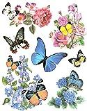 Fensterbild Set 7-teilig Schmetterlinge Blumen Hortensien Rosen u.a. statisch selbsthaftend Fenstersticker Aufkleber Fensterdekoration Fensterfolie