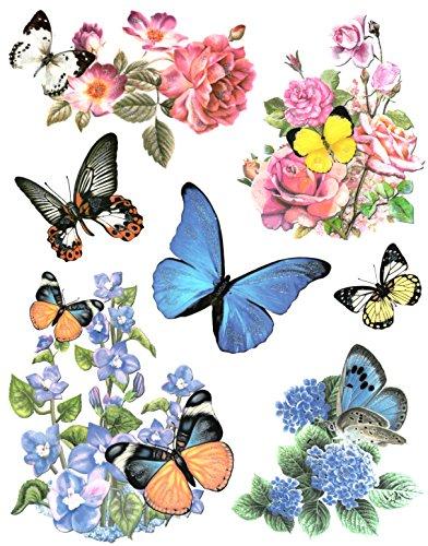 Fensterbild Set 7-teilig Schmetterlinge Blumen Hortensien Rosen u.a. Fenstersticker Fensterdeko