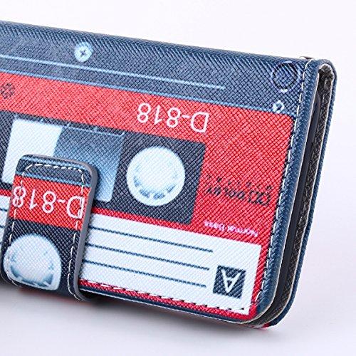 iPhone 6S Hülle,iPhone 6 Hülle,ISAKEN iPhone 6S Hülle Wallet Case ,Handyhülle iPhone 6S / iPhone 6, Bunte Retro Muster Druck Flip PU Leder Tasche Case Hülle im Bookstyle mit Standfunktion Kartenfächer Schwarz Rot Kassetten