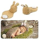 Baby Kostüm Strickkostüm Fotoshooting Babyfotos Ostern Bunny Hase Braun (BK038)
