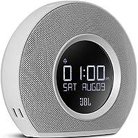 JBL Horizon Wireless Bluetooth Radiowecker mit 2 Weckern und Umgebungsbeleuchtung, FM Radio, 2 USB-Ladeanschlüssen Kompatibel mit Apple iOS und Android Smartphones, Tablets und MP3 Geräten - Weiß