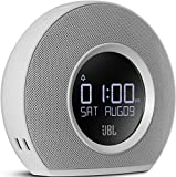 JBL Horizon radio Despertador de doble alarma inalámbrico Bluetooth con puerto de carga USB y Luz LED Ambiental Despertar de Amanecer, compatible con Smartphones y tabletas iOS de Apple y Android y otros dispositivos MP3, color blanco