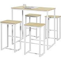 SoBuy OGT15-WN Set de 1 Table + 4 Tabourets Ensemble Table de Bar Bistrot + 4 Tabourets de Bar avec Repose-Pieds Table…