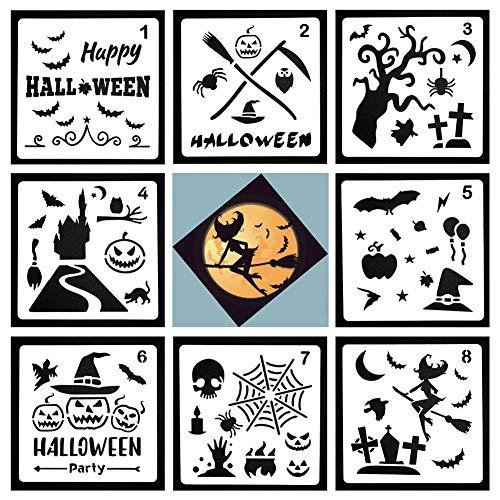 SINBLUE Halloween-Dekor-Schablone, Kürbis-Zauberer, super dehnbar, Spinnweben, BeißFledermaus, super Vorteilspack für Halloween-Dekoration - Happy Halloween-Schablonen, Scrapbooking, Prägen, DIY Handwerk