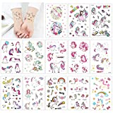 Einhorn Temporäre Tattoos,Tumao 25 Blatt Glitzer Tattoo Set Kinder Schablone, Temporäre Glitzer Tattoos, tattoos zum aufkleben wasserfest, Fake Tattoos für Mädchen Kinder Frauen Erwachsene, Einhorn Party Supplies, Perfect Party Tattoo Set. (25pcs/set)