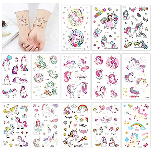Tumao Einhorn Temporäre Tattoos, 25 Blatt Glitzer Tattoo Set ,Temporäre Glitzer Tattoos, Fake Tattoos für Mädchen Kinder Frauen Erwachsene, Einhorn Party Supplies.