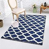#10: Fashion Folk Ethnic Velvet Touch Abstract New Chenille Carpet - 5 X 7 Ft ,BLUE