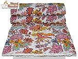NANDNANDINI TEXTILE - indische handgemachte böhmische Bettwäsche Kantha Bettdecke King Size Bettdecke Bett Sofa Throwdecke Ac Decke Teppich Baumwolle Reversible Kantha Quilt (Twin)