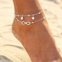 Ushiny Boho Forever Cavigliera Bracciale cavigliera con perle d'argento Bracciale cavigliere vintage a strati Gioielli…