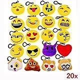 JZK 20 x Mini Emoji Schlüsselanhänger Plüsch , 5cm Smileys Tasche Rucksack Ranzen Anhänger, Spielzeug Geschenk Mitgebsel Gastgeschenk für Geburtstag Kinder Party