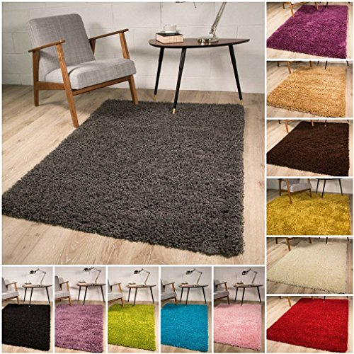 The Rug House Thick Modern Small Medium Soft Anti Shed Luxury Vibrant Shaggy Rugs - 12 Colours & 5 (Grey 60x110cm)