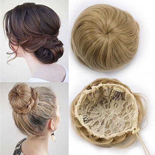 TESS Haargummi Haarteil Dutt mit Haaren Honigblond Glatt Haarknoten Hochsteckfrisuren günstig für...