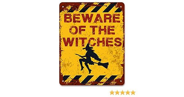 a Witch Lives Here Kids Bedroom Metal Door Plaque Personalised Beware