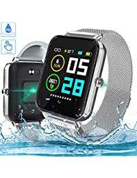 Zagzog Smart Watch 1.54in Full Touch Screen GPS Tracking Magnetic Band IP68 Waterproof Fitness Tracker with Sleep Tracker Alarm Clock iOS Android Watch for Teenagers Men Women Grey Strap Included