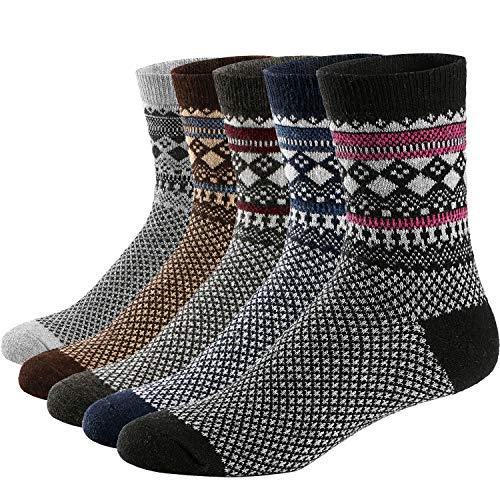 Ueither 5 Pares de Calcetines de Lana Tejida Gruesa Cálida y Suave para Invierno y Otoño de Estilo Antiguo para Hombres (38-44, Color 3)