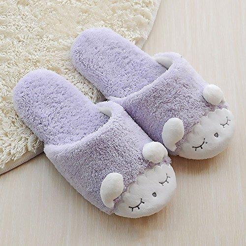 Winthome Zapatillas Mujer Invierno,Suave Zapatillas de Casa (Púrpura)