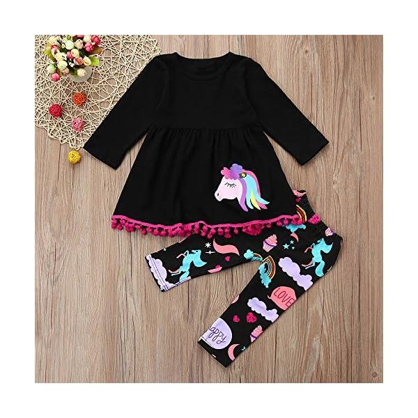 Cinnamou Bebe Niña Conjunto de Camiseta Vestido Tops y Pantonla Trajes de Dos Piezas Vestidos Arcoiris Manga largas… 2