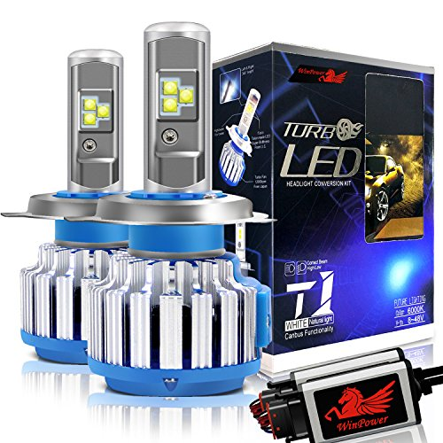Win Power – LED-Scheinwerfer-Lampen – All-in-One Austausch-Kit – H4 HB2 (9003 Hi/Low); 7.200lm; 80 W; 6000 K kühles weiß; CREE; 2er-Pack