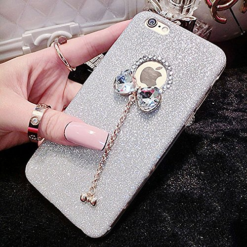 iPhone 5/5S Fall, unnfiko Beauty Luxus Diamant Glitzer Gummi Bling Soft glänzend Sparkling mit Crystal Strass Schleife Schutzhülle für iPhone 55S 5G, Silber (Iphone Lifeproof Bling Case 5s)
