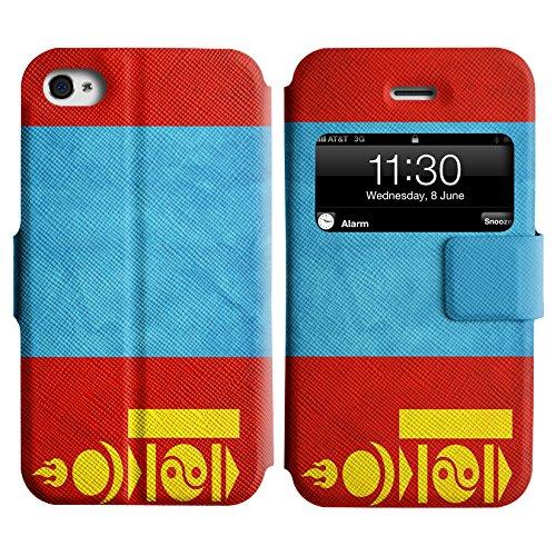 Graphic4You Vintage Uralt Flagge Von Hong Kong Flag Design Leder Schützende Display-Klappe Brieftasche Hülle Case Tasche Schutzhülle für Apple iPhone 4 und 4S Mongolei Mongolisch