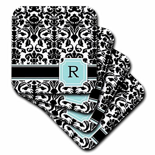 Und Damast Schwarz Weiß Tischsets (inspirationzstore Monogramme–Buchstabe R Persönlichen Monogramm mint blau schwarz und weiß Damast Muster–Classy Personalisierte Initiale–Untersetzer, grün, set-of-8-Soft)