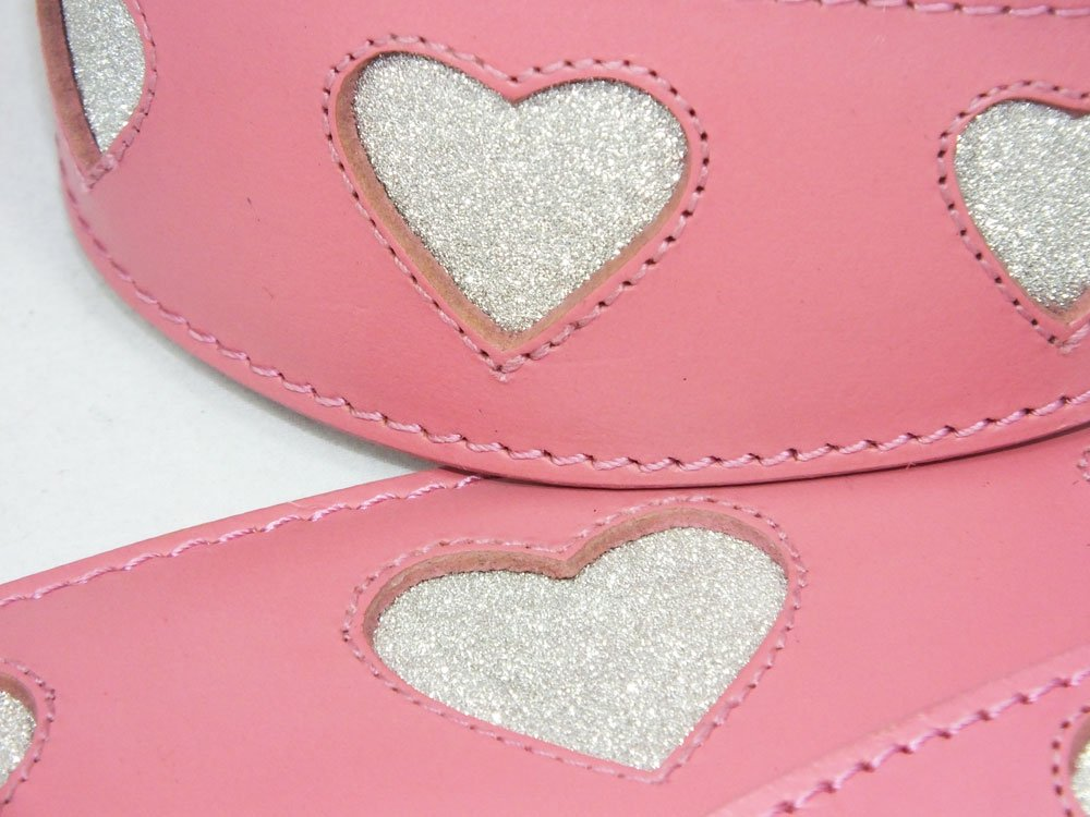 14-17 Inch Leather Greyhound Collar Pink With Sparkle Glitter Heart