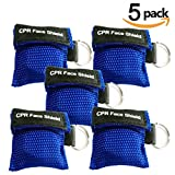 Pack of 5pcs CPR Mask Keychain Ring Emergency Kit Rescue Face Shields with One-way Valve Breathing Barrier for First Aid or AED Training, Adult and Infant , Easy to Carry (Blue)