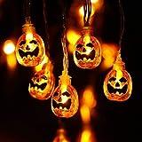 Qedertek Halloween Decoratie Pompoen Lichtsnoer, 2.3m 20LED Pompoen Lichtslinger, Feestver Lichtsnoeren Decoratie, Pompoen St
