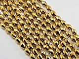 #9: The Design Cart Golden Metallic Drop / Briolette Shaped Crystal Bead ( 3 mm * 5 mm ) ( 1 String )