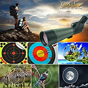 Gosky Spotting Scope 20-60X 80 Waterproof Porro Prism Scope for Birdwatching Target Shooting Archery Outdoor Activities -with Tripod & Digiscoping Adapter-Get the World into Screen