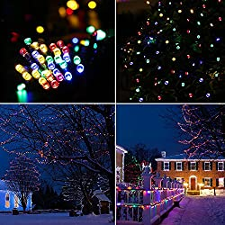 Aglaia Cadena Solar de Luces LED de 10 Metros, 100 LEDs de Multi-Colors con 7 Modos de Iluminación, Lámpara Exterior Impermeable para Jardín, Patio y Fiestas de Navidad