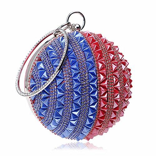 Mode, Essen, Runde, Dinner - Paket, Europa Und Amerika, Diagonal, Bankett, Handtasche Red blue stripe