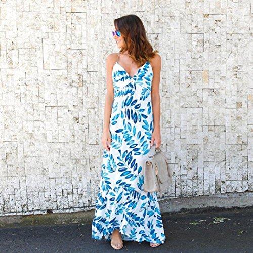 Minetom Donna Boho Maxi V Collo Stampa Floreale Vestito Lungo Elegante Senza Maniche Vestiti da Sera Partito Spiaggia Sundress Bianco