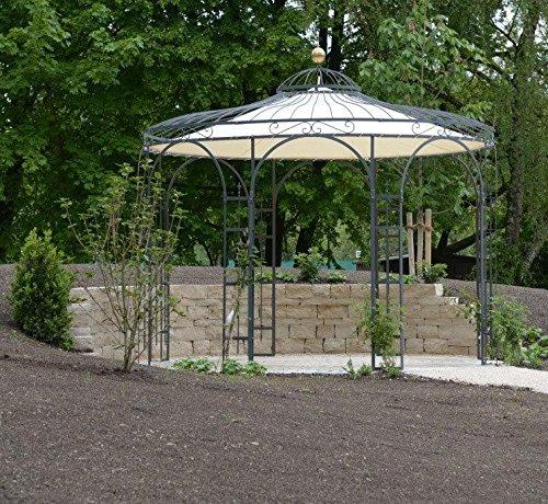 ELEO Florenz runder Eisenpavillon mit Sonnensegel, Ø 3,7 Meter (Oberfläche: anthrazit duplexbeschichtet) - 8