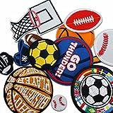 12 toppe termoadesive per palloni da basket, tennis, rugby, calcio, per bambini, jeans, vestiti, giacche, zaini, sciarpe, cucito, fai da te