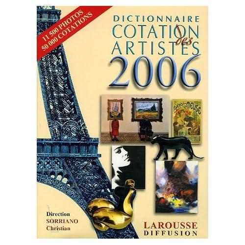 Dictionnaire Cotation des artistes 2006