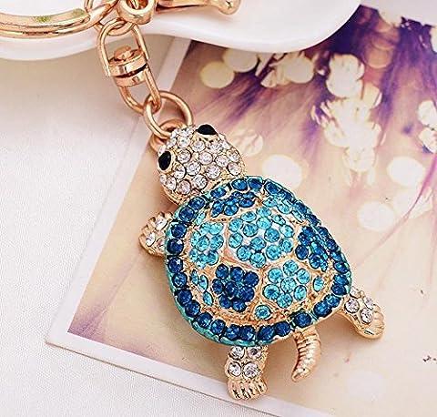 Porte-clés breloque en forme de tortue avec strass pour sac à main, bleu, Taille unique
