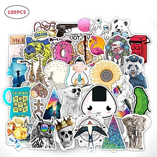 Naisicatar 100PCS wasserdichte Aufkleber für Dekorieren Skateboards Autos Fahrradgepäck No-Doppelten Cartoon-Aufkleber (Nette Karikatur) Spaß-Spielzeug für Kinder
