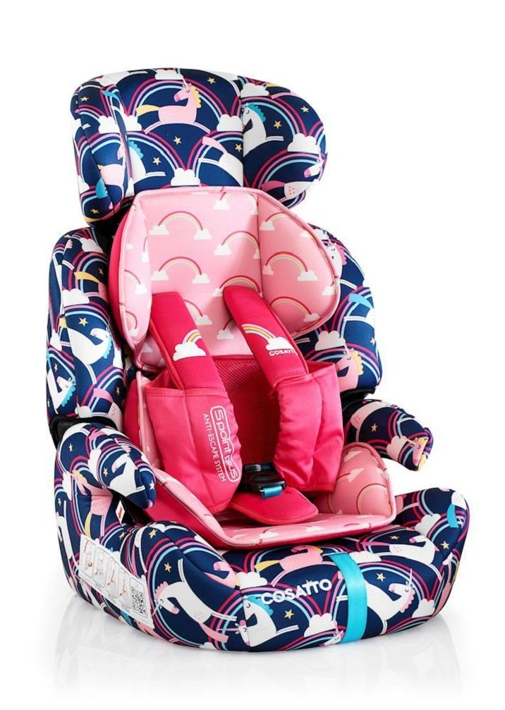 Cosatto Zoomi Car Seat Group 123, 9-36 kg, Magic Unicorns Cosatto Cosatto Zoomi Group 123 Car Seat five point plus anti escape system harness - ideal for keeping little wrigglers in place Suitable from 9 kg-36 kg zoomi's an investment; two part reversible seat liner adjustable headrest chest and tummy pads Removable, washable covers to keep your car seat pristine 2