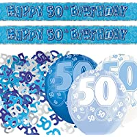Unique BPWFA-4152 Glitz 50th Birthday Foil Banner Party Decoration Kit, Blue