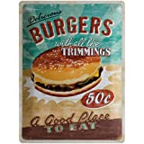 Plaque de Décoration en Métal - Design Retro - Vintage Delicious Burgers with All the Trimmings